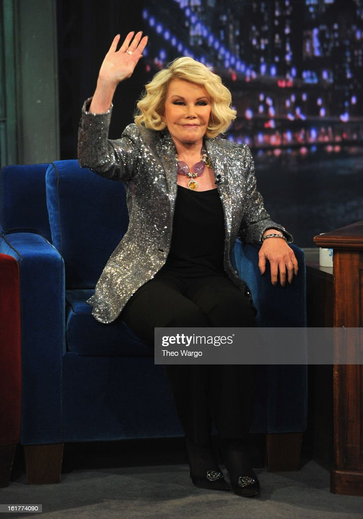 <a gi-track='captionPersonalityLinkClicked' href=/galleries/search?phrase=Joan+Rivers&family=editorial&specificpeople=159403 ng-click='$event.stopPropagation()'>Joan Rivers</a> visits 'Late Night With Jimmy Fallon' at Rockefeller Center on February 15, 2013 in New York City.