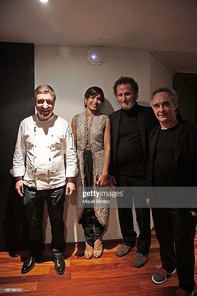 Joan Roca, Freida Pinto, Franc Aleu-Peret and Ferran Adria attend 'El Somni', 'The Dream' Gastronimic Opera Performance on May 6, 2013 in Barcelona, Spain.