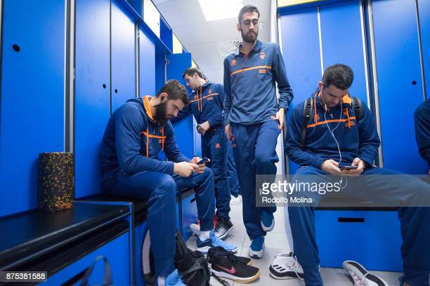 Joan Sastre #30 of Valencia Basket at dressing room prior the 2017/2018 Turkish Airlines EuroLeague Regular Season Round 8 game between FC Barcelona...