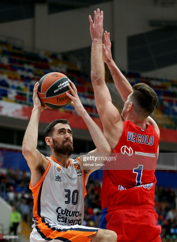 Joan Sastre, #30 of Valencia Basket competes with Nando de Colo, #1 of CSKA Moscow in action during the 2017/2018 Turkish Airlines EuroLeague Regular Season Round 6 game between CSKA Moscow and Valencia Basket at Megasport Arena on November 9, 2017 in Moscow, Russia.