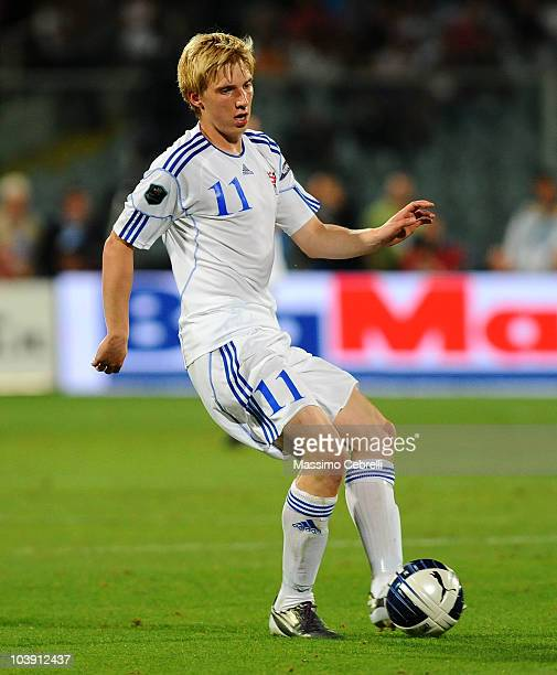 Joan Simun Edmundsson of Faroe in action during the Euro 2012 qualifying match between Italy and Faroe Islands at Stadio Artemio Franchi on September...