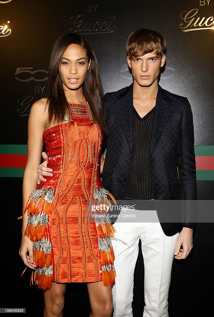 Joan Smalls and guest attend the 500 by Gucci launch party during the Milan fashion week womenswear Autumn/Winter 2011 on February 23, 2011 in Milan, Italy.