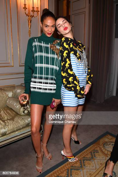 Joan Smalls and Kendall Jenner attend Miu Miu Cruise Collection cocktail party as part of Haute Couture Paris Fashion Week on July 2 2017 in Paris...