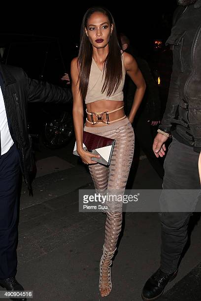 Joan Smalls arrives at the Balmain After Show Party at 'Laperouse' restaurant as part of the Paris Fashion Week Womenswear Spring/Summer 2016 on...