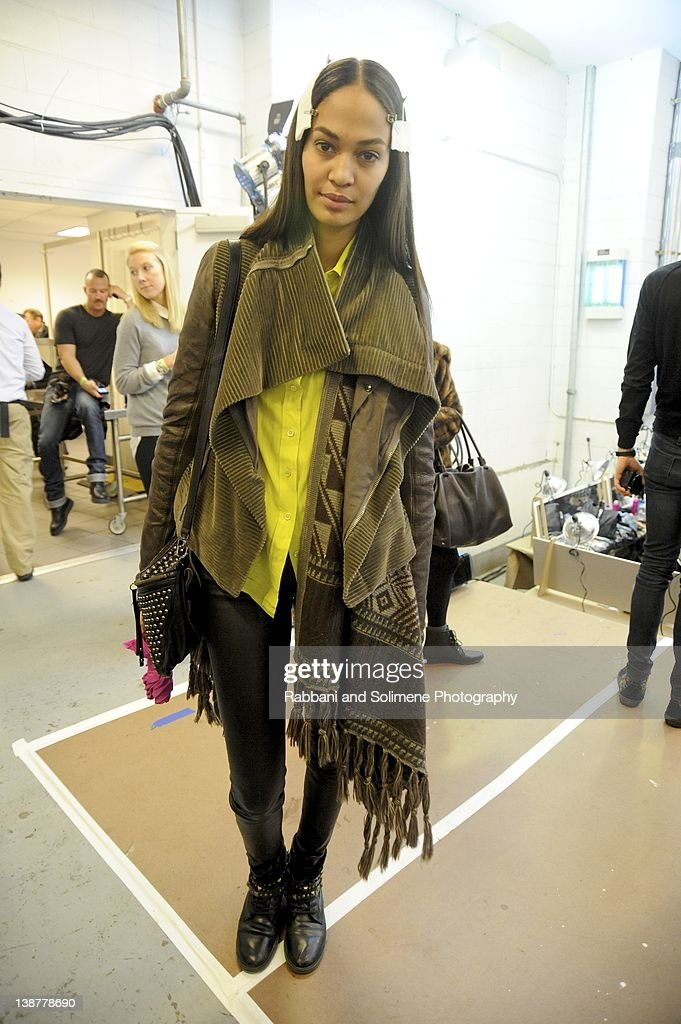 Joan Smalls backstage at the Prabal Gurung fall 2012 fashion show during Mercedes-Benz Fashion Week at the IAC Building on February 11, 2012 in New York City.