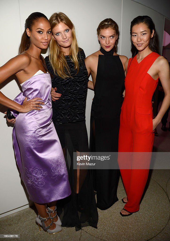 Joan Smalls, Constance Jablonski, Arizona Muse, and Liu Wen attend the Estee Lauder 'Modern Muse' Fragrance Launch Party at the Guggenheim Museum on September 12, 2013 in New York City.
