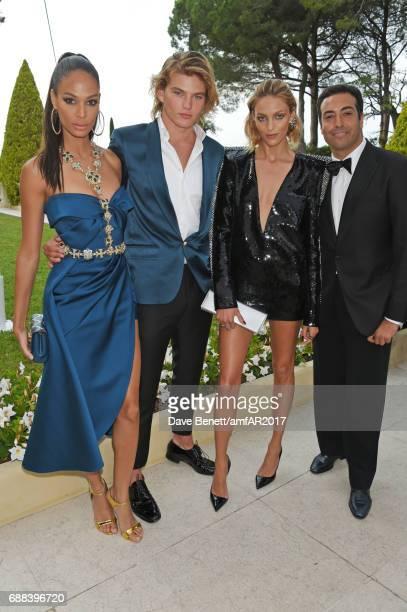 Joan Smalls Jordan Barrett Anja Rubik and Mohammed Al Turki arrive at the amfAR Gala Cannes 2017 at Hotel du CapEdenRoc on May 25 2017 in Cap...