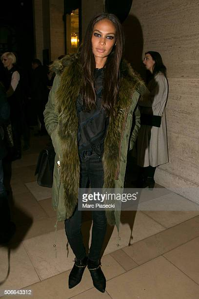 Joan Smalls leaves the Versace Haute Couture Spring Summer 2016 show as part of Paris Fashion Week on January 24 2016 in Paris France