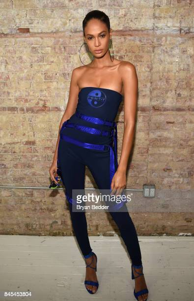 Joan Smalls poses backstage at the FENTY PUMA by Rihanna Spring/Summer 2018 Collection at Park Avenue Armory on September 10 2017 in New York City