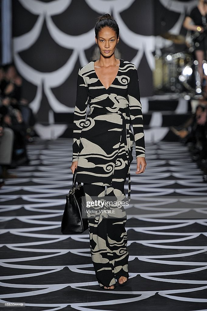 Joan Smalls walks the runway at the Diane Von Furstenberg Ready to Wear Fall/Winter 2014-2015 fashion show during Mercedes-Benz Fashion Week Fall 2014 at Spring Studios on February 9, 2014 in New York City.