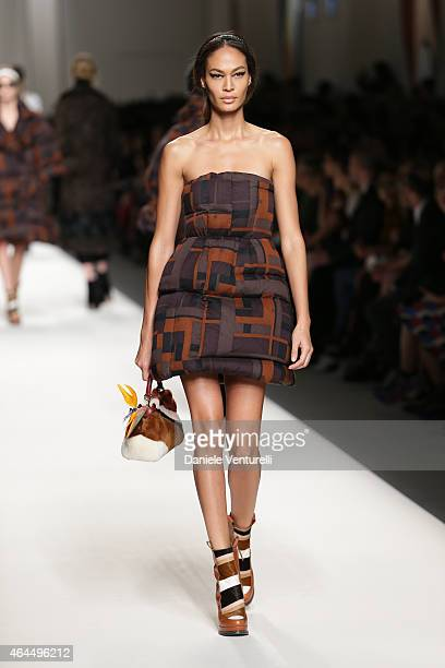 Joan Smalls walks the runway at the Fendi show during the Milan Fashion Week Autumn/Winter 2015 on February 26 2015 in Milan Italy