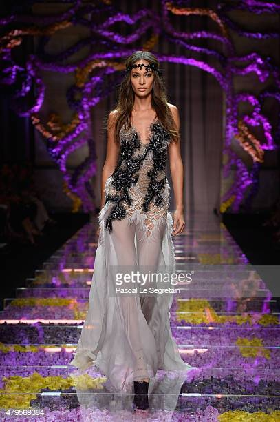 Joan Smalls walks the runway during the Atelier Versace show as part of Paris Fashion Week Haute Couture Fall/Winter 2015/2016 on July 5 2015 in...