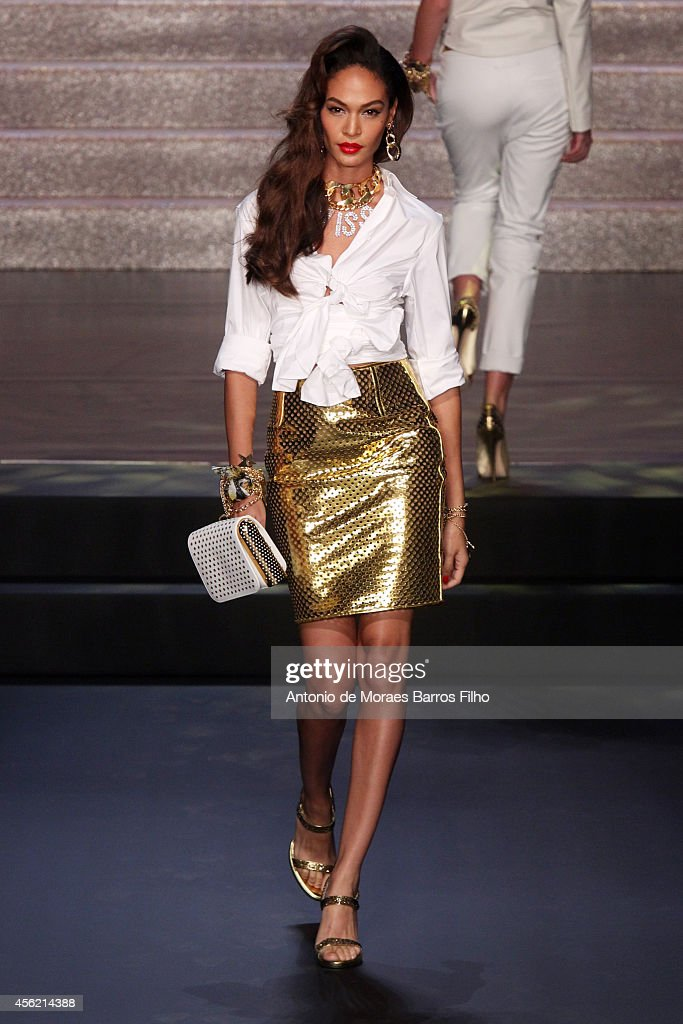 Joan Smalls walks the runway during the Jean Paul Gaultier show as part of the Paris Fashion Week Womenswear Spring/Summer 2015 on September 27 2014...