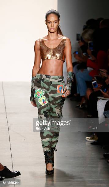 Joan Smalls walks the runway during the Jeremy Scott fashion show during during New York Fashion Week at Spring Studios on September 8 2017 in New...
