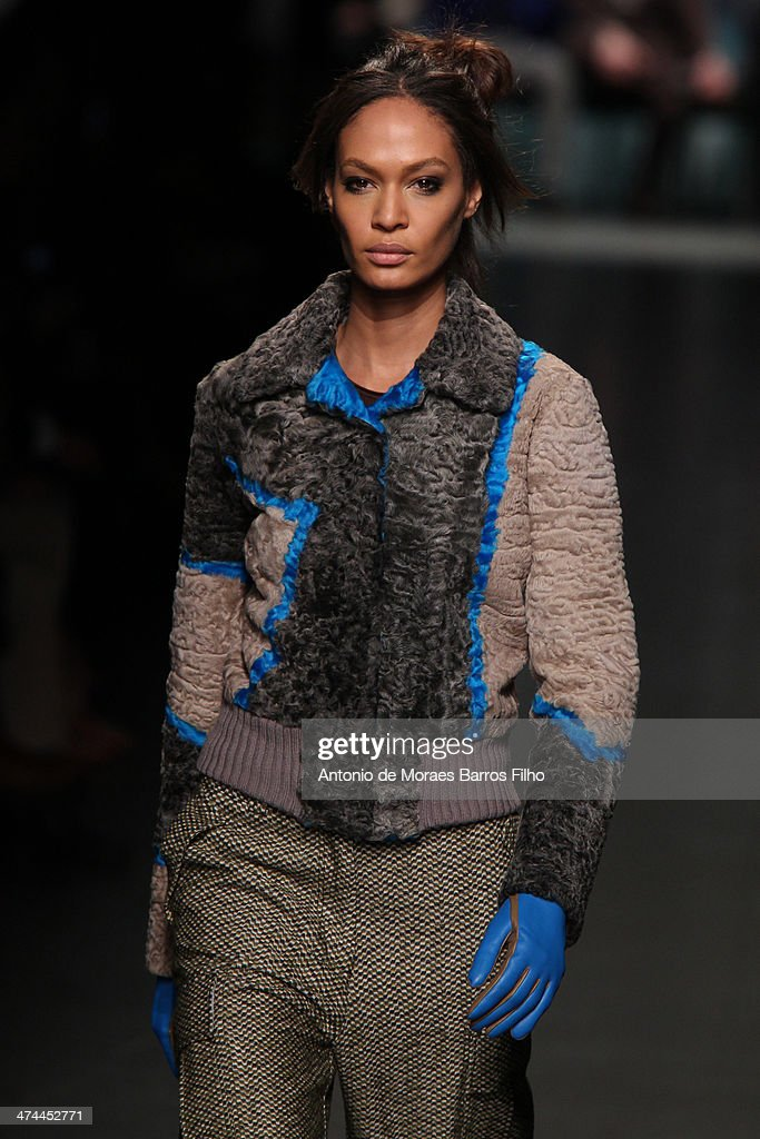 <a gi-track='captionPersonalityLinkClicked' href=/galleries/search?phrase=Joan+Smalls&family=editorial&specificpeople=5714628 ng-click='$event.stopPropagation()'>Joan Smalls</a> walks the runway during the Missoni show as a part of Milan Fashion Week Womenswear Autumn/Winter 2014 on February 23, 2014 in Milan, Italy.