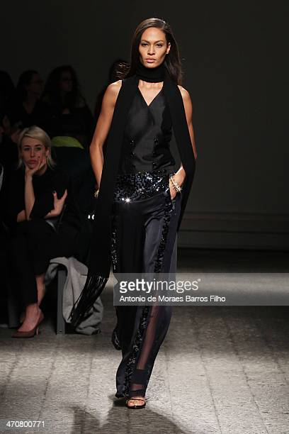 Joan Smalls walks the runway during the Ports 1961 show as a part of Milan Fashion Week Womenswear Autumn/Winter 2014 on February 20 2014 in Milan...