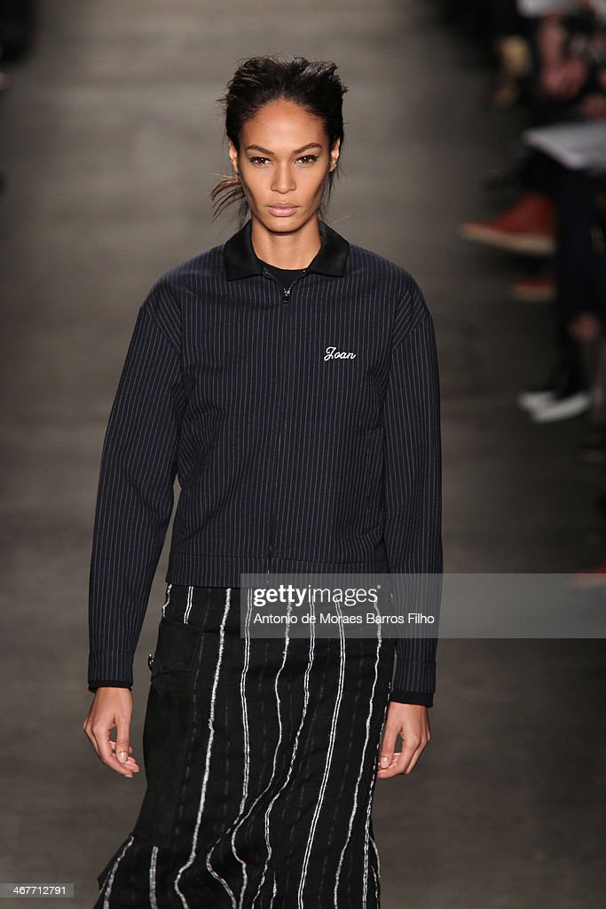 Joan Smalls walks the runway during the Rag Bone fall 2014 fashion show on February 7 2014 in New York City