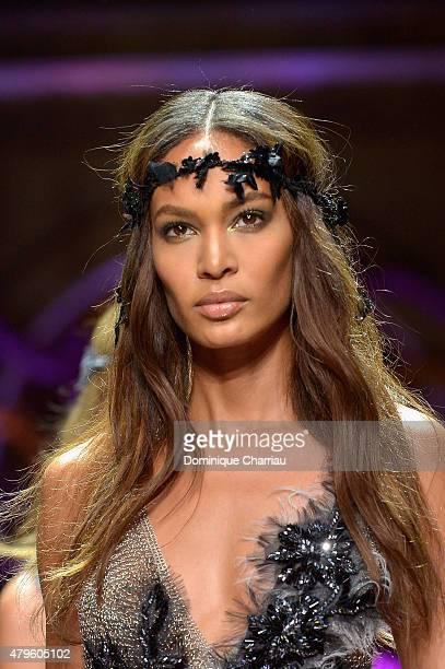 Joan Smalls walks the runway during the Versace show as part of Paris Fashion Week Haute Couture Fall/Winter 2015/2016 on July 5 2015 in Paris France
