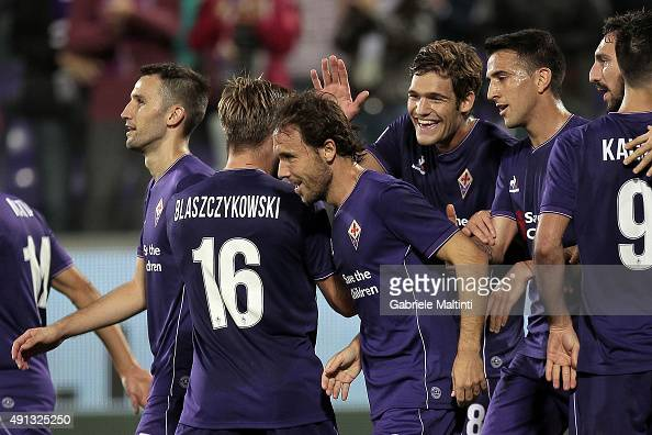 Joan Verdu' of ACF Fiorentina celebrates after scoring a goal during the Serie A match between ACF Fiorentina and Atalanta BC at Stadio Artemio...