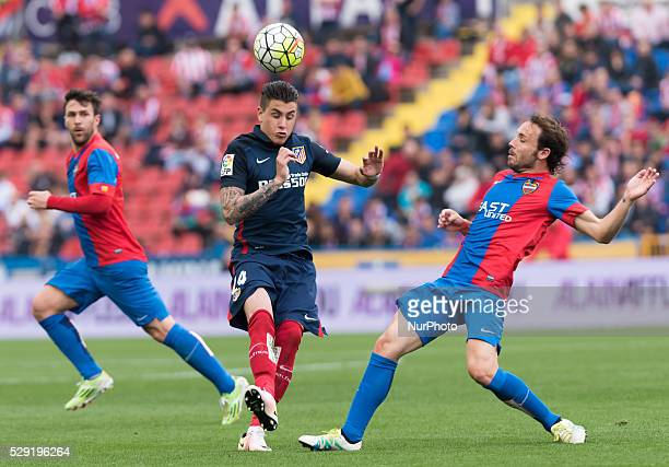 Joan Verdu of Levante UD and Jose Maria Gimenez of Atletico de Madrid during the Spanish League Match match at Estadio Ciutat de Valencia Valencia on...