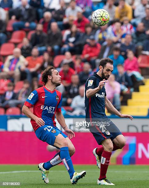 Joan Verdu of Levante UD and Juanfran Torres of Atletico de Madrid during the Spanish League Match match at Estadio Ciutat de Valencia Valencia on...