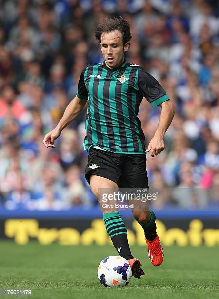 Joan Verdu of Real Betis in action during the pre season friendly match between Everton and Real Betis at at Goodison Park on August 11 2013 in...