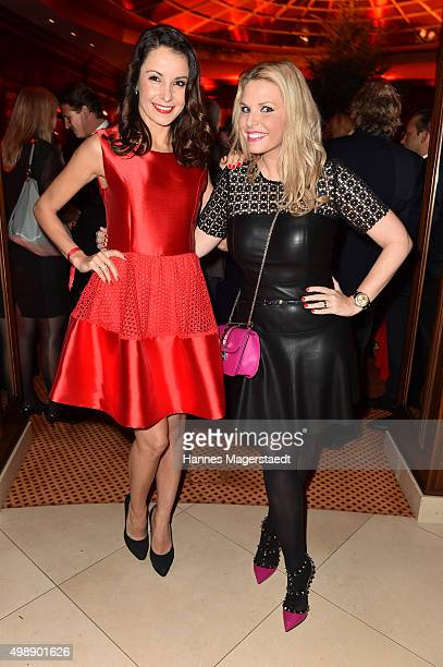 Joana Danciu and Alessandra Geissel during a christmas party at Hotel Vier Jahreszeiten Kempinski on November 26 2015 in Munich Germany