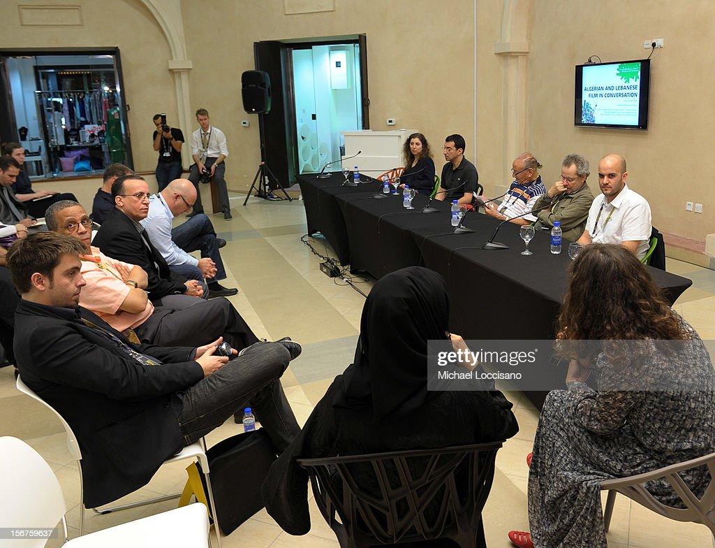 Joana Hadjithomas, Nadir Mokneche, Mohammed Lakhdar-Hamina, Merzak Allouache and Damien Ounouri at the Algerian and Lebanese Film in Conversation during the 2012 Doha Tribeca Film Festival at Katara Art Center on November 20, 2012 in Doha, Qatar.