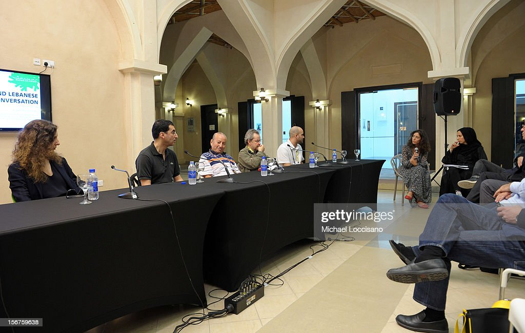 Joana Hadjithomas, Nadir Mokneche, Mohammed Lakhdar-Hamina, Merzak Allouache and Damien Ounouri at the Algerian and Lebanese Film in Conversation during the 2012 Doha Tribeca Film Festival at Katara Art Center on November 20, 2012 in Doha, Qatar.