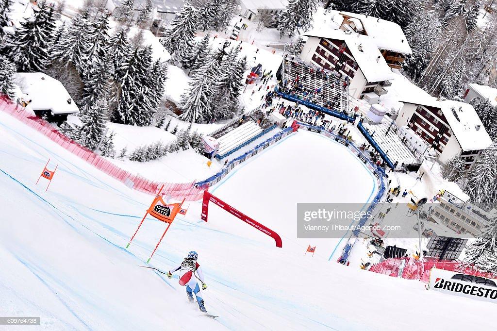 Joana Haehlen of Switzerland competes during the Audi FIS Alpine Ski World Cup Women's Downhill Training on February 12, 2016 in Crans Montana, Switzerland.