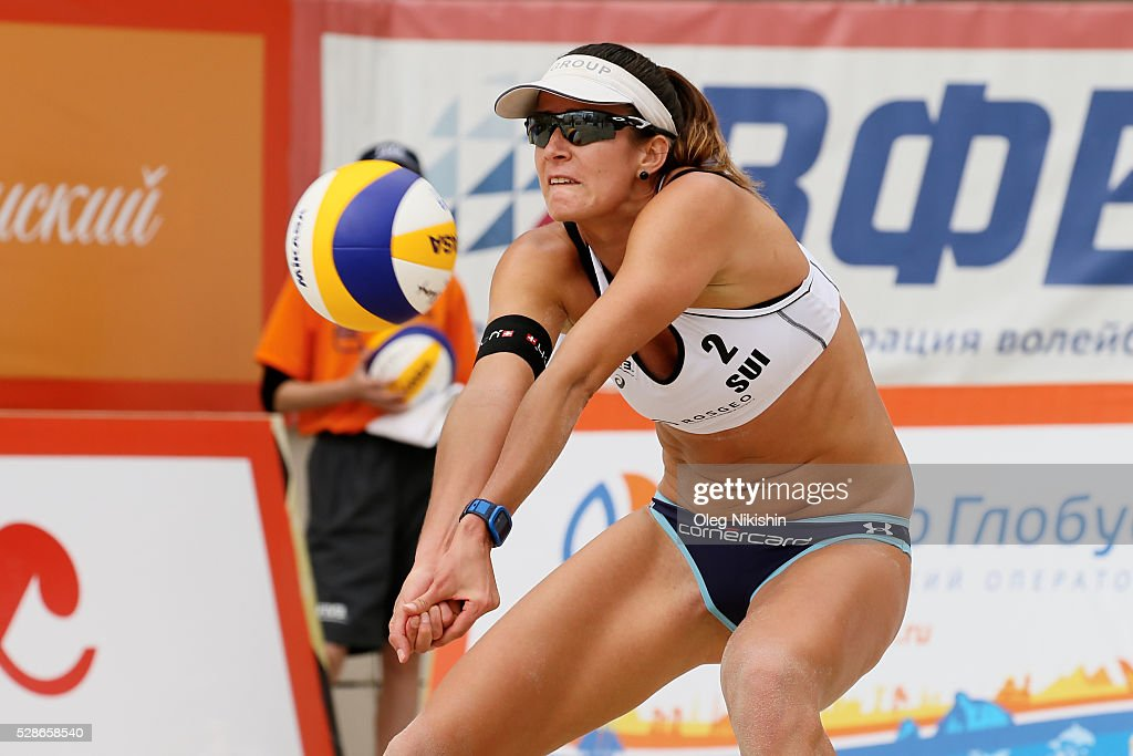 Joana Heidrich of Switzerland receives a ball during day 4 of FIVB Sochi Open presented by VTB on May 6, 2016 in Sochi, Russia.