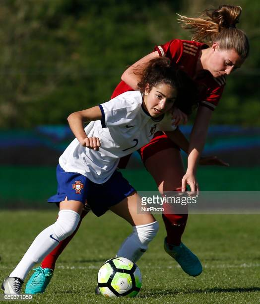 Joana Martins of Portugal and Anna Torrod of Spain during the UEFA U17 Women's Championship Qualifier match between Spain and Portugal at Cidade do...