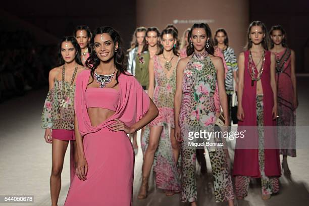 Joana Sanz and models walk the runway at the Lola Casademunt show during the Barcelona 080 Fashion Week Spring/Summer 2017 at the INEFC Institut...
