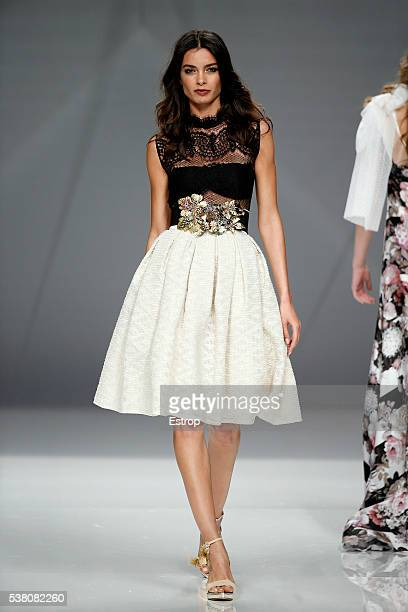 Joana Sanz walks the runway during the Matilde Cano Season 2017 show as part of the Barcelona Bridal Fashion Week on April 28 2016 in Barcelona Spain