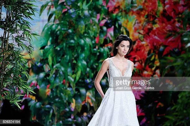 Joana Sanz wears a creation from Galia Lahav during Barcelona Bridal fashion week April 28 2016 in Barcelona Spain 'n'n