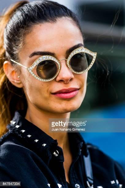 Joana Sanz wears Gucci glases ZARA jacket and shorts Sandro Tshirt Chanel handbag and Converse sneakers during the MercedesBenz Fashion Week Madrid...