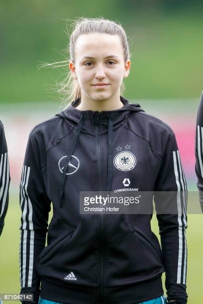 Joana Weber of Germany is seen during the national anthem prior to the Under 15 girls international friendly match between Czech Republic and Germany...