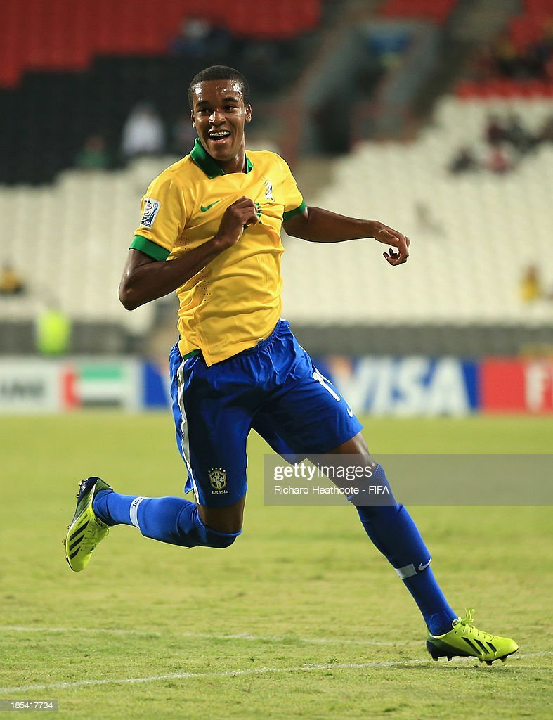 Joanderson of Brazil celebrates scoring the fifth goal during the FIFA U-17 World Cup UAE 2013 Group A match between United Arab Emirates and Brazil at the Mohamed Bin Zayed Stadium on October 20, 2013 in Abu Dhabi, United Arab Emirates.