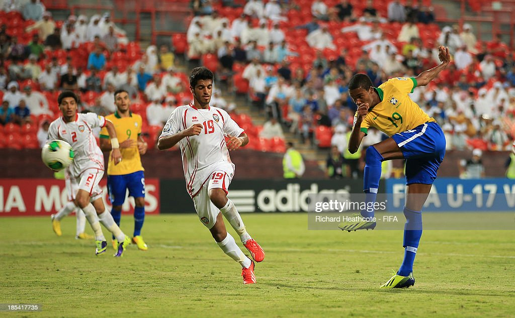 Joanderson of Brazil scores the fifth goal during the FIFA U-17 World Cup UAE 2013 Group A match between United Arab Emirates and Brazil at the Mohamed Bin Zayed Stadium on October 20, 2013 in Abu Dhabi, United Arab Emirates.