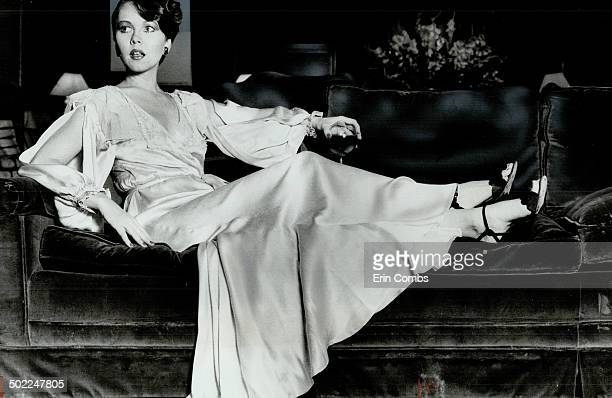 Joann Lewis 26 model relaxes in her pale pink satin robe that she bought in an antique clothing store for $50 The skirt is cut on the bias The...