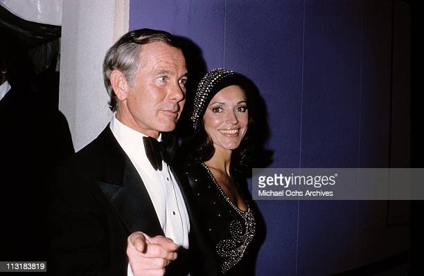 Joanna and Johnny Carson host of the Tonight Show attend an event circa 1973 in Los Angeles California