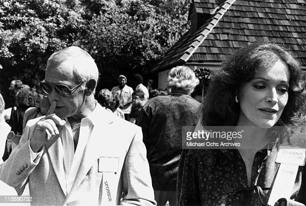 Joanna and Johnny Carson host of the Tonight Show attend an event circa 1980 in Los Angeles California