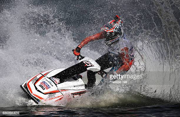 Joanna Borgenstrom of Sweden race in the Ski Ladies GP1 final during the Aquabike Class Pro Circuit World Championships Grand Prix of Sharjah at...