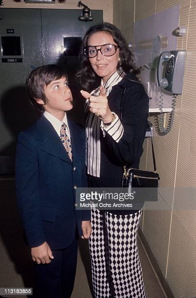Joanna Carson wife of the Tonight Show host Johnny Carson and her son from a previous marriage backstage at a taping circa 1973 in Los Angeles...