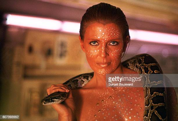 Joanna Cassidy on the set of 'Blade Runner' directed by Ridley Scott