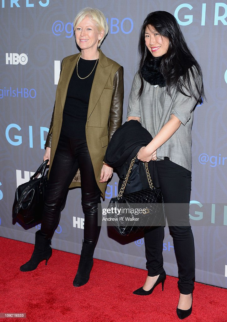 Joanna Coles and guest attend the premiere of 'Girls' season 2 hosted by HBO at NYU Skirball Center on January 9, 2013 in New York City.