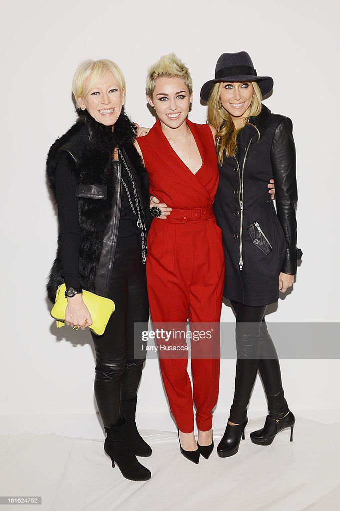 Joanna Coles Miley Cyrus and Tish Cyrus attend the Rachel Zoe Fall 2013 fashion show during MercedesBenz Fashion Week at The Studio at Lincoln Center...