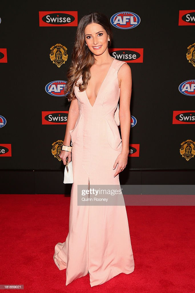 Joanna Fleming the partner of Angus Monfries of the Power poses ahead of the 2013 Brownlow Medal at Crown Palladium on September 23, 2013 in Melbourne, Australia.