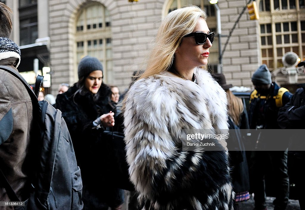 Joanna Hillman arrives to the Alexander Wang show on February 9, 2013 in New York City.