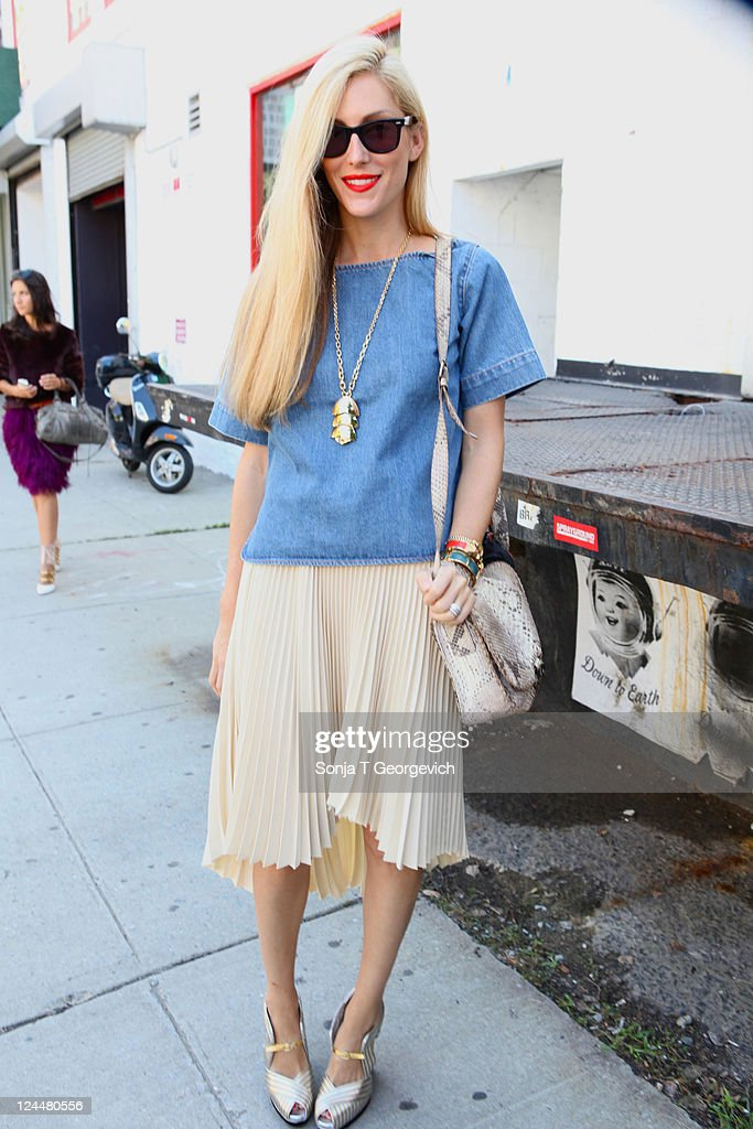 Joanna Hillman Senior Fashion Marketing Editor of Harper's Bazaar US arrives at the Jason Wu Spring 2012 fashion show during MercedesBenz Fashion...